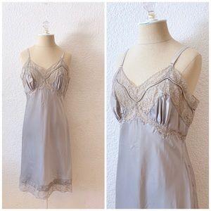 Vintage 50s Silver Slip Dress Lace Nylon S M